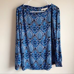 Loft Blue Patterned Long Sleeve Career Blouse
